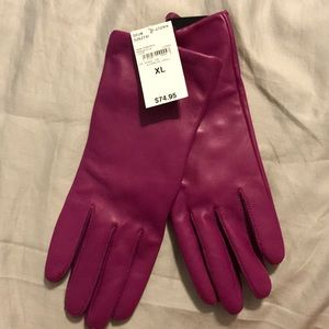 NWT Lands End Purple Leather Gloves (Persian Plum)